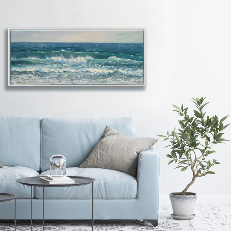 Breezy Shore, Seascape, Oil painting by Annie Wildey