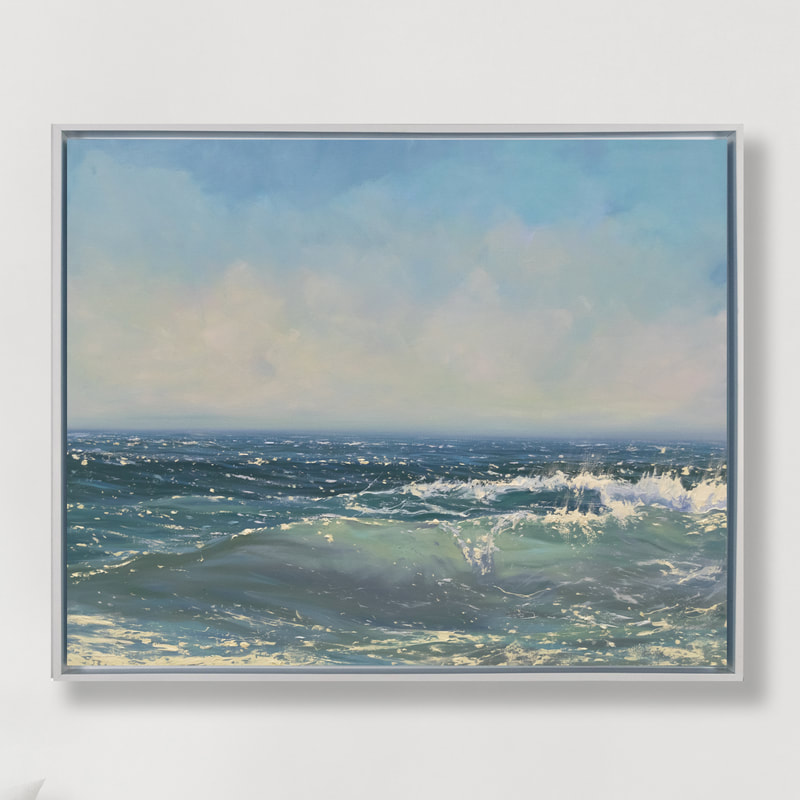 Glistening Sea, Seascape, Oil painting by Annie Wildey