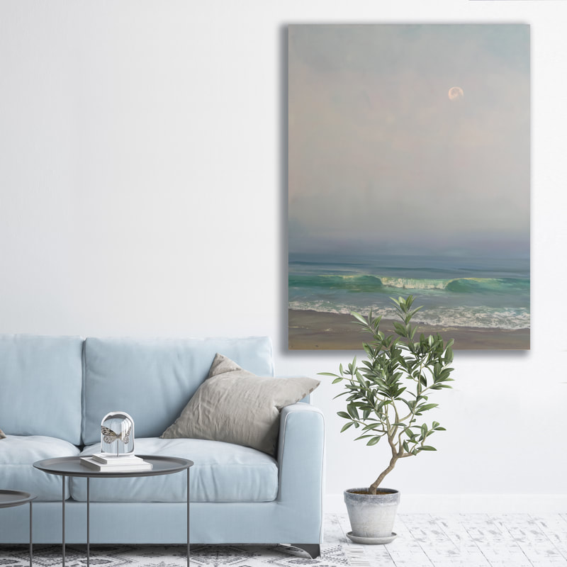 Goodbye Moon, Seascape, Oil painting by Annie Wildey