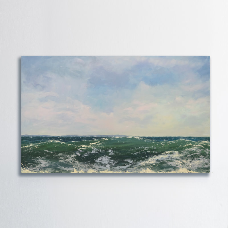 On The Horizon III,  Seascape, Oil painting by Annie Wildey