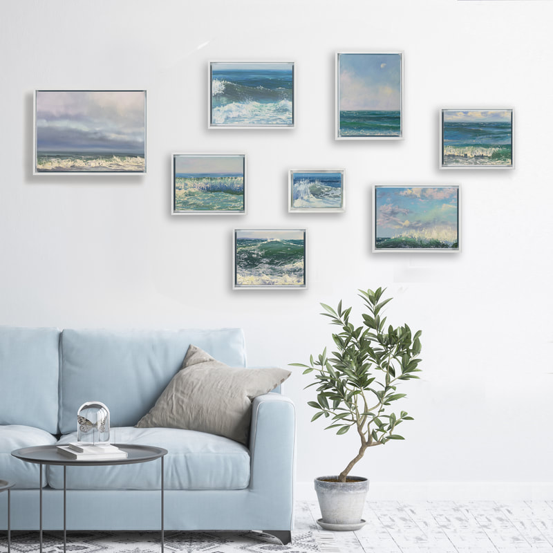 Coastal Breeze Collection Gallery Wall, Oil Seascape paintings By Annie Wildey