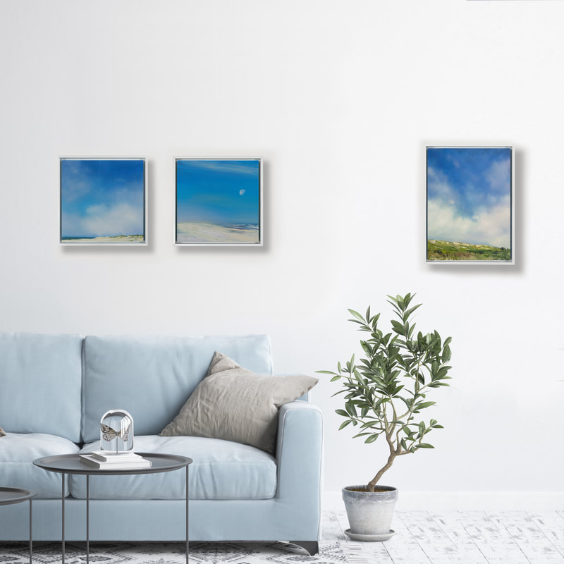 Summer Shore Collection Gallery Wall, oil paintings by Annie Wildey
