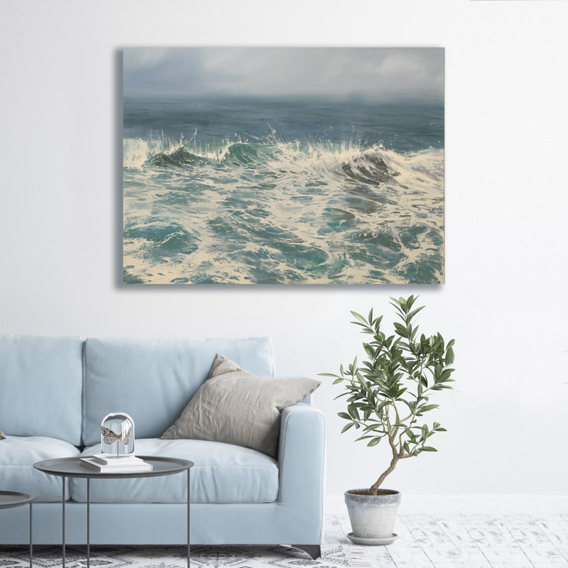 Surf's Up, Seascape, Oil painting by Annie Wildey